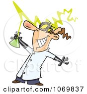 Clipart Mad Scientist Holding A Beaker Royalty Free Vector Illustration by toonaday
