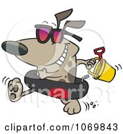 Clipart Beach Dog With An Inner Tube And Toys Royalty Free Vector Illustration