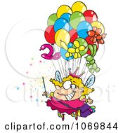 Clipart Fairy Floating With Balloons Royalty Free Vector Illustration