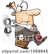 Clipart Wind Up Businessman On Auto Pilot Royalty Free Vector Illustration by toonaday