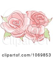 Clipart Three Pink Roses Royalty Free Vector Illustration