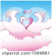 Clipart Angel Heart Above Pink Clouds Royalty Free Vector Illustration
