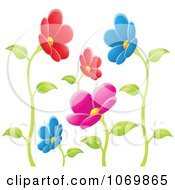 Clipart Colorful Daisy Flowers On Stalks Royalty Free Vector Illustration