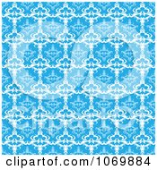 Clipart Seamless Blue Baroque Damask Pattern Royalty Free Vector Illustration