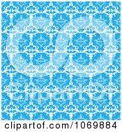Seamless Blue Baroque Damask Pattern