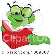 Clipart Nerdy Worm Reading A Book Royalty Free Vector Illustration by yayayoyo