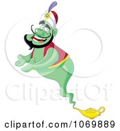Clipart Presenting Green Genie Royalty Free Vector Illustration