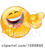 Clipart Laughing And Pointing Emoticon Face Royalty Free Vector Illustration