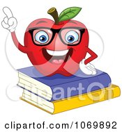 Clipart Smart Apple On Books Royalty Free Vector Illustration by yayayoyo