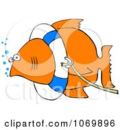 Clipart Fish With A Life Buoy On Its Head Royalty Free Vector Illustration