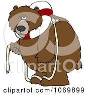Clipart Bear With A Life Buoy On His Head Royalty Free Vector Illustration