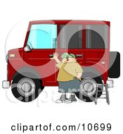 Man Standing A Ladder By His Lifted Hummer Car Clipart Illustration