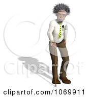 Clipart 3d Old Man Resembling Einstein With A Cane Royalty Free CGI Illustration by Ralf61