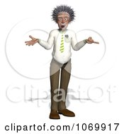 Clipart 3d Shrugging Man Resembling Einstein Royalty Free CGI Illustration by Ralf61