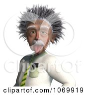3d Man Resembling Einstein Sticking His Tongue Out