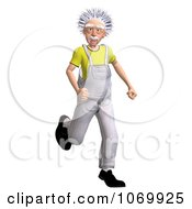 Clipart 3d Running Worker Man Resembling Einstein Royalty Free CGI Illustration by Ralf61