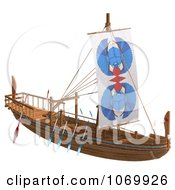 Clipart 3d Egyptian Wooden Boat 1 Royalty Free CGI Illustration