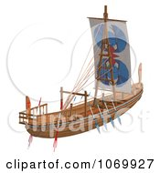 Clipart 3d Egyptian Wooden Boat 2 Royalty Free CGI Illustration