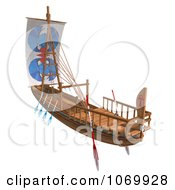 Clipart 3d Egyptian Wooden Boat 3 Royalty Free CGI Illustration