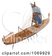 Clipart 3d Egyptian Wooden Boat 4 Royalty Free CGI Illustration