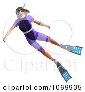 Clipart 3d Woman Snorkeling 1 Royalty Free CGI Illustration