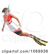 Clipart 3d Woman Snorkeling 2 Royalty Free CGI Illustration