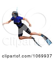 Clipart 3d Woman Snorkeling 3 Royalty Free CGI Illustration