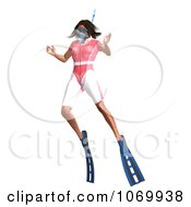 Clipart 3d Woman Snorkeling 4 Royalty Free CGI Illustration