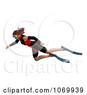 Clipart 3d Woman Snorkeling 5 Royalty Free CGI Illustration