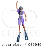 Clipart 3d Woman Snorkeling 6 Royalty Free CGI Illustration