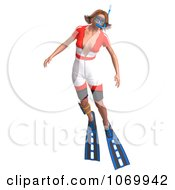 Clipart 3d Woman Snorkeling 8 Royalty Free CGI Illustration