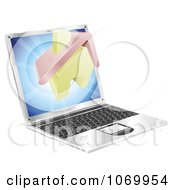 Clipart 3d Partly Home Emerging From A Laptop Royalty Free Vector Illustration