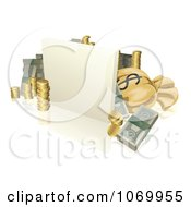 Clipart 3d Blank Sign With Coins Cash And A Piggy Bank Royalty Free Vector Illustration