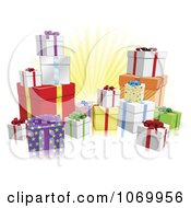 Clipart 3d Wrapped Birthday Or Christmas Gifts Royalty Free Vector Illustration