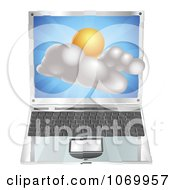 3d Partly Sunny Icon Emerging From A Laptop