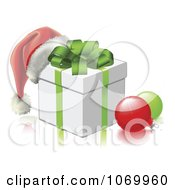 Clipart 3d Santa Hat On A Gift Box With Baubles Royalty Free Vector Illustration