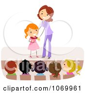 Clipart Teacher Giving A Stick Student A Medal Royalty Free Vector Illustration