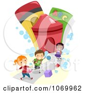 Clipart Diverse Stick Students Running To A School Royalty Free Vector Illustration