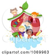 Clipart Diverse Stick Students By A School House In The Clouds Royalty Free Vector Illustration