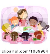 Clipart Teacher Reading To Diverse Stick Students Royalty Free Vector Illustration