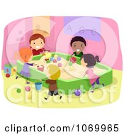 Clipart Diverse Stick Students Playing In A Sand Box Royalty Free Vector Illustration by BNP Design Studio