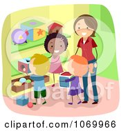 Clipart Diverse Stick Students Picking Up Toys Royalty Free Vector Illustration