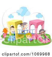 Clipart Diverse Stick Students Playing On A Playground Structure Royalty Free Vector Illustration