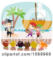 Clipart Diverse Stick Students Acting In A Pirates Play Royalty Free Vector Illustration