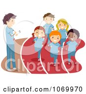 Clipart Coach Watching Diverse Stick Students Run Track Royalty Free Vector Illustration