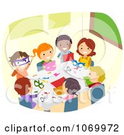 Clipart Diverse Stick Students Doing Crafts Royalty Free Vector Illustration