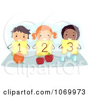 Clipart Stick Kids Holding Up Numbers Royalty Free Vector Illustration
