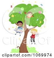 Clipart Diverse Stick Students Playing In A Tree Royalty Free Vector Illustration