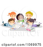 Clipart Diverse Stick Students Coloring Together Royalty Free Vector Illustration