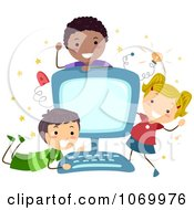 Clipart Diverse Stick Students Around A Computer Royalty Free Vector Illustration